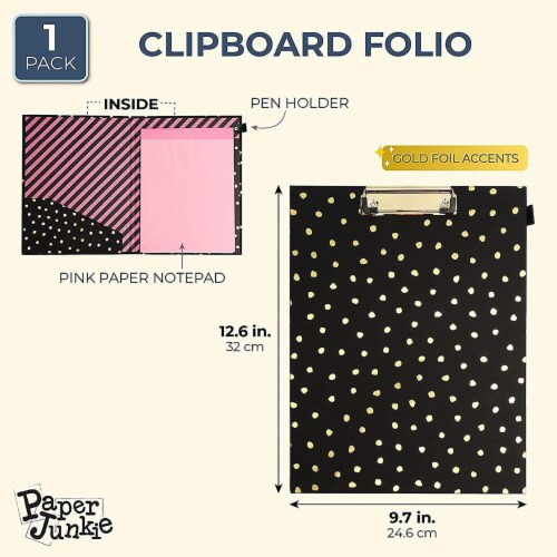 Clipboard Folio with Gold Foil Dots for Women (Black) Perspective: back