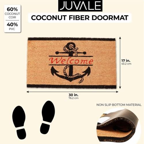 Nautical Anchor Welcome Mat for Front Door, Natural Coir Doormat (30 x 17 in) Perspective: back