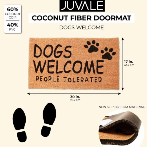 Dogs Welcome People Tolerated Welcome Mat, Natural Coir Doormat (30 x 17 in) Perspective: back