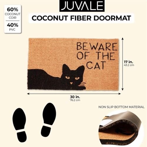 Beware of The Cat Welcome Mat for Front Door, Natural Coir Doormat (30 x 17 in) Perspective: back