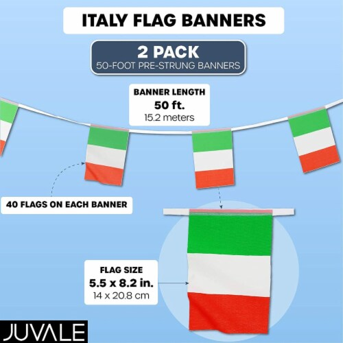 Juvale Italian Flag Banners (100 ft, 80 Flags) Perspective: back