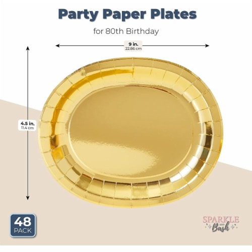 Oval Serving Platters for Parties, Gold Foil Paper Tray (12.5 x 10 In, 48 Pack) Perspective: back
