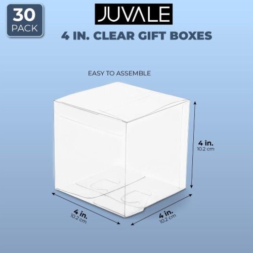 Clear Candy Apple Gift Boxes, Transparent Box for Party Favors, Cupcakes (4 In, 30 Pack) Perspective: back