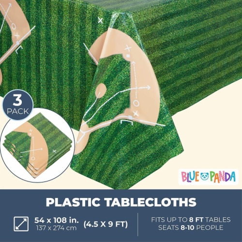 Baseball Tablecloth Birthday Party Plastic Table Cover (54 x 108 in, 3 Pack) Perspective: back