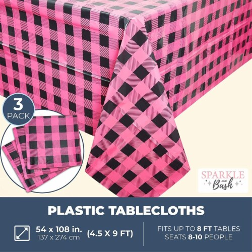 Sparkle and Bash Buffalo Plaid Table Covers for Girl Baby Shower (54 x 108 in, 3 Pack) Perspective: back