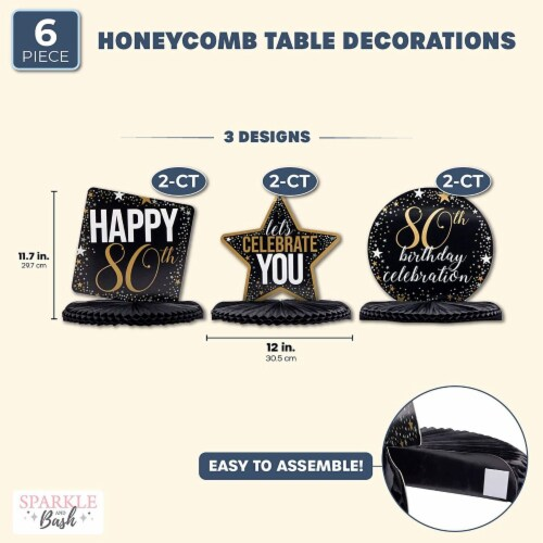 80th Birthday Party Honeycomb Centerpiece Decoration (12 x 11 In, 6 Pack) Perspective: back