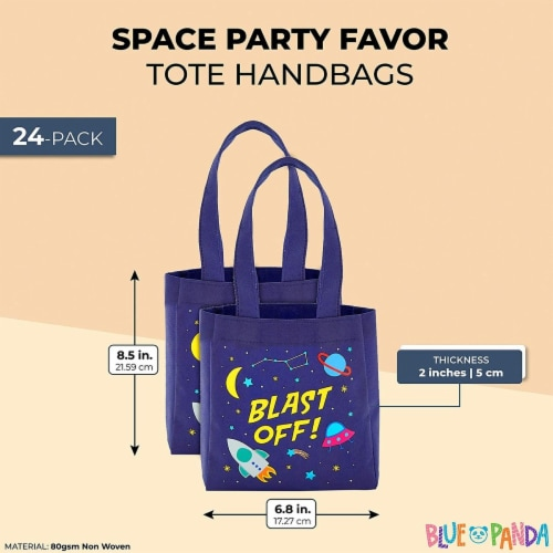 Outer Space Party Favor Tote Bags, Blast Off (6.5 x 7 x 1.77 In, 24 Pack) Perspective: back