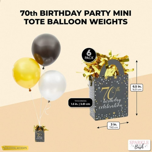 70th Birthday Party Balloon Weights, Black and Gold Decorations (6 oz, 6 Pack) Perspective: back