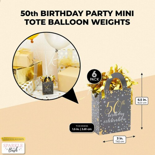 50th Birthday Party Balloon Weights, Black and Gold Decorations (6 oz, 6 Pack) Perspective: back