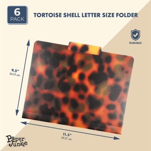 Decorative File Folders, 1/3 Cut Tab, Letter Size, Plastic Tortoise Shell (6 Pack) Perspective: back