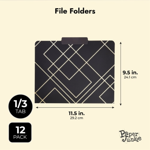 Decorative File Folders, 1/3 Cut Tab, Letter Size, Gold Foil Geometric (12 Pack) Perspective: back