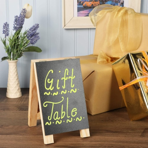 Chalkboard Easel Stand with Liquid Chalk Marker and White Chalk (2 Sets) Perspective: back