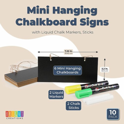 Mini Hanging Chalkboard Signs with Liquid Chalk Markers, Sticks (10 Pieces) Perspective: back
