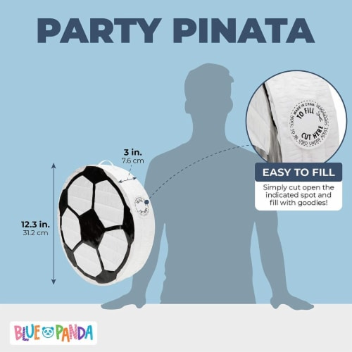 Soccer Ball Pinata for Birthday Party Decorations (12.8 x 12.8 x 3 Inches) Perspective: back