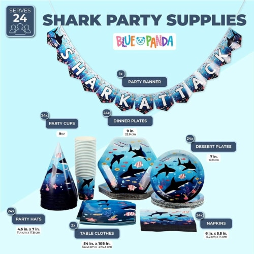 Shark Party Dinnerware, Banner, Plastic Tablecloth, Hats (Serves 24, 123 Pieces) Perspective: back