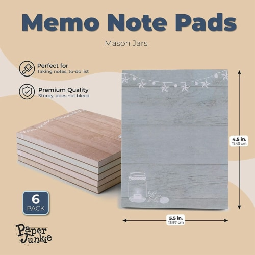 Memo Note Pads with Rustic Mason Jar Design (4.25 x 5.5 In, 6 Pack) Perspective: back