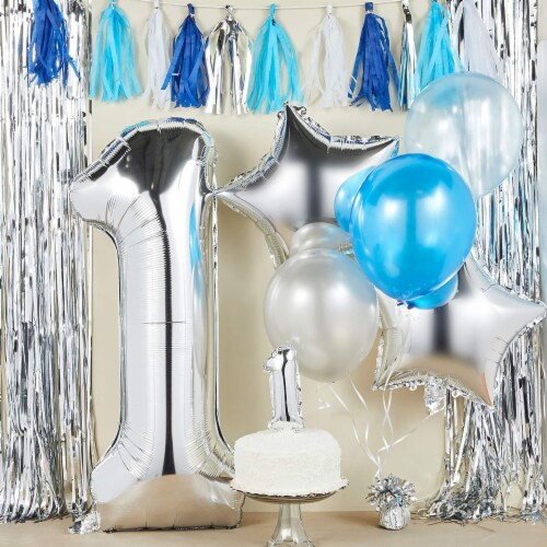 Blue & Silver Boy 1st Birthday Party Decorations, Balloons, Cake Topper and Tassels Perspective: back