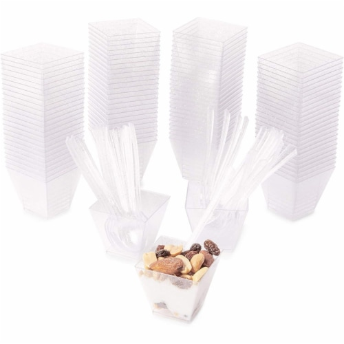 100 Silver Glitter Mini Dessert Cups with 100 Spoons (2 oz) Perspective: back