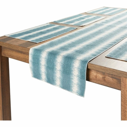 Striped Dining Table Runner and Placemats, Set of 6 (7 Pieces) Perspective: back