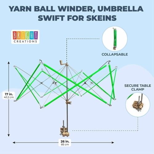 Yarn Ball Winder, Umbrella Swift for Skeins (27 x 17 Inches) Perspective: back