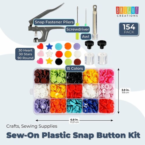 Sew-On Plastic Snap Button Kit, Crafts, Sewing Supplies (15 Colors, 154 Pieces) Perspective: back