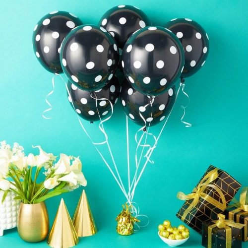 50 Pack Polka Dot Balloons with 1 Gold Balloon Weight and String (Black and White) Perspective: back
