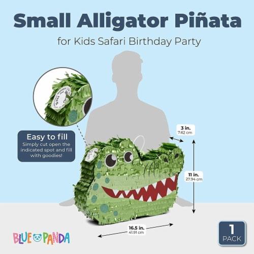 Small Alligator Piñata for Kids Safari Birthday Party (16.5 x 11.5 x 3 Inches) Perspective: back