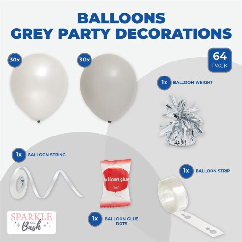 Latex Balloons with Balloon Weights, Grey Party Decorations (64 Pieces) Perspective: back
