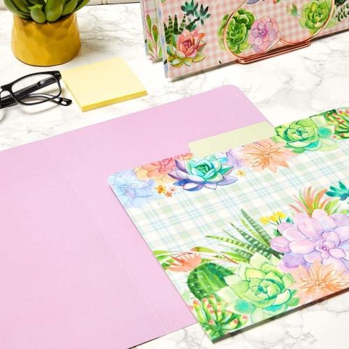 Decorative File Folders, Cactus Succulents, 1/3 Cut Tab, Letter Size (12 Pack) Perspective: back