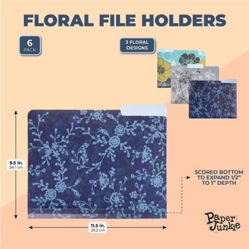 Plastic File Cabinet Folders 1/3 Cut Tab, Floral Designs (Letter Size, 6 Pack) Perspective: back