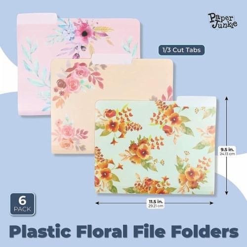 Plastic Floral File Folders, 1/3 Cut Tabs (Letter Size, 6 Pack) Perspective: back