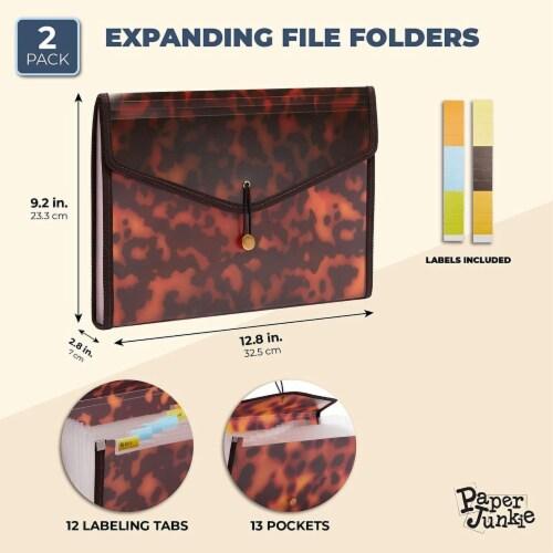 Expanding File Folder, Tortoise Shell Animal Print, 13 Pocket Letter Size (2 Pack) Perspective: back