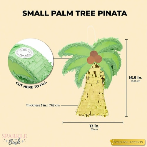 Tropical Palm Tree Luau Piñata for Summer Birthday Party (16.5 x 13 In) Perspective: back