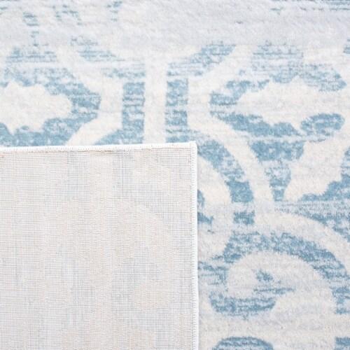 Martha Stewart Isabella Round Rug - Turquoise/Ivory Perspective: back