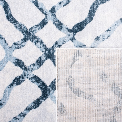 Martha Stewart Isabella Rug - Ivory/Turquoise Perspective: back