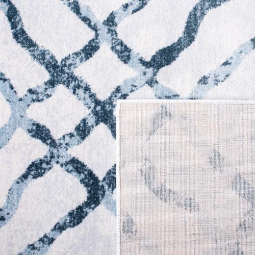Martha Stewart Isabella Round Rug - Ivory/Turquoise Perspective: back