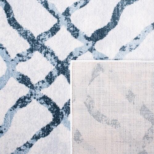 Martha Stewart Isabella Square Rug - Ivory/Turquoise Perspective: back