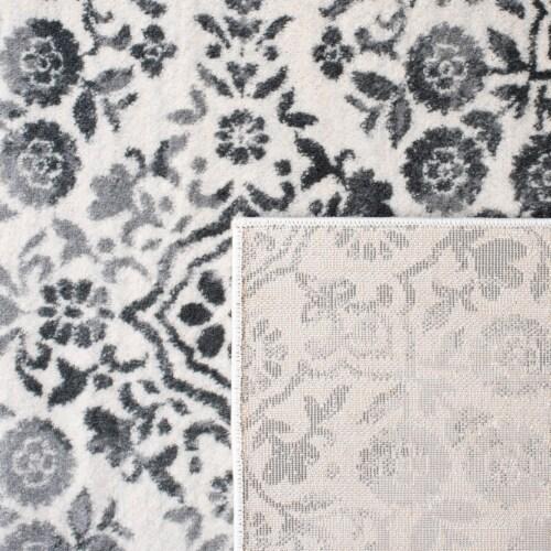 Martha Stewart Isabella Round Rug - Charcoal/Ivory Perspective: back