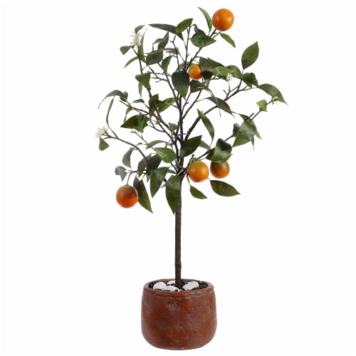 Faux Orange Potted Tree Perspective: back