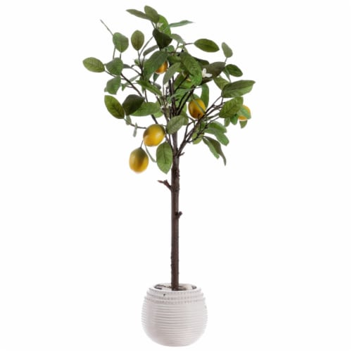 Faux Lemon Potted Tree Perspective: back