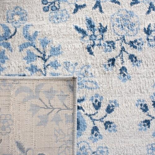 Martha Stewart Brentwood Round Area Rug - Cream / Blue Perspective: back