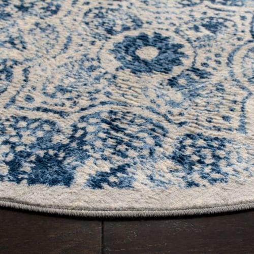 Martha Stewart Brentwood Round Accent Rug - Cream/Blue Perspective: back