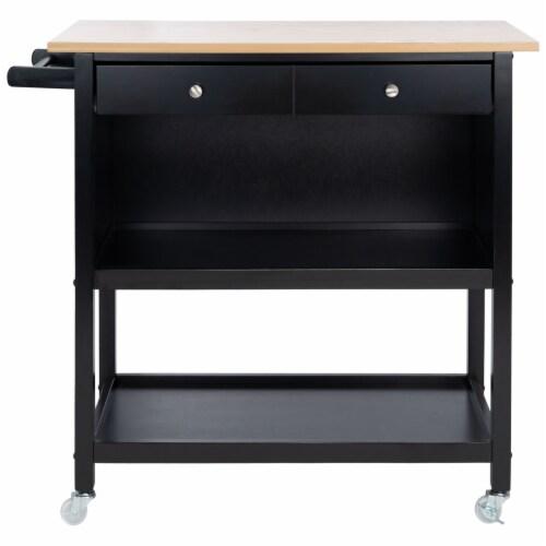 Daley 2 Drawer 3 Shelf Kitchen Cart Black Perspective: back