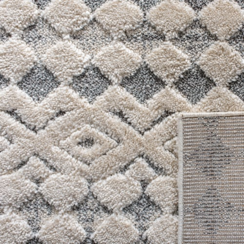 Martha Stewart Collection Lucia Shag Diamond Accent Rug - White/Light Gray Perspective: back