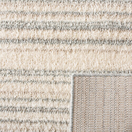 Safavieh Martha Stewart Collection Lucia Shag Stripe Accent Rug - Light Gray/White Perspective: back