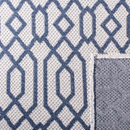 Martha Stewart Cotton Area Rug - Blue/Gray Perspective: back
