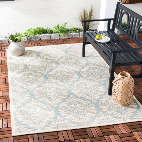 Martha Stewart Beach House Indoor / Outdoor Area Rug - Aqua / Cream Perspective: back