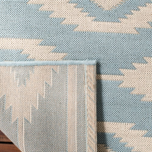 Martha Stewart Beach House Indoor / Outdoor Area Rug - Cream / Aqua Perspective: back