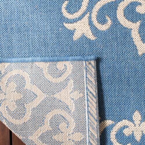 Martha Stewart Beach House Indoor Outdoor Rug - Cream/Blue Perspective: back