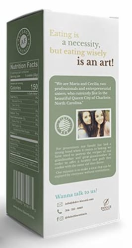 Dolce Biscotti Vegan, Gluten Free, Allergen Free, Lemon Cookies - 6.77 oz. each unit Perspective: back